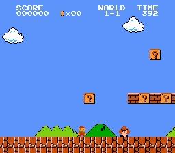 Tela do primeiro estágio de Super Mario Bros.