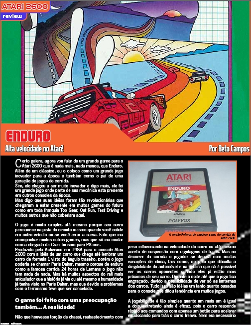Análise de Enduro, clássico do Atari 2600!
