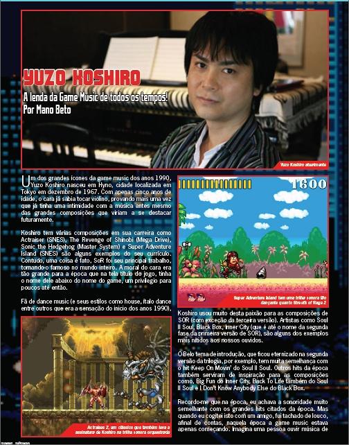 Matéria sobre o mestre da gamemusic Yuzo Koshiro!