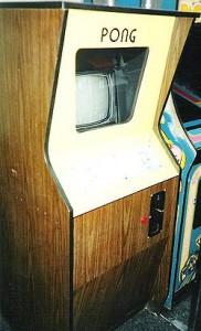Um gabinete com o game Pong.
