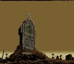 Na versão japa, várias cruzes sobre as lápides e tumbas...