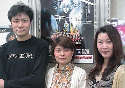 Da esquerda para direita: IGA, Michiru Yamane e Ayami Kojima