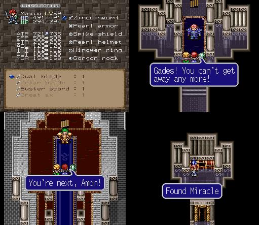 equipando a Dual Blade, matando os dois bundões e coletando Miracles por todo canto, essa dungeon final é um passei no parque...