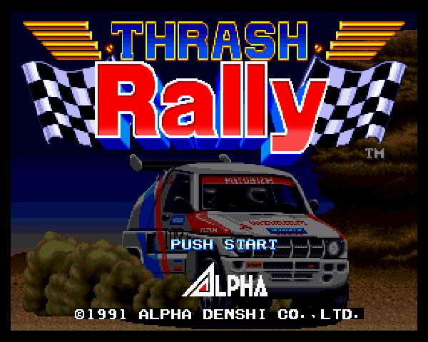 Lançado em 1991 pela Alpha em 1991, Thrash Rally foi um dos jogos que mais me divertiu no Neo Geo. Apesar de ser simplório perto de outros jogos da primeira leva do console da SNK como NAM-1975, por exemplo, não deixa de ter seu charme e de ser um dos poucos títulos de corrida que foram produzidos para esse maravilho sistema de 16 bits.