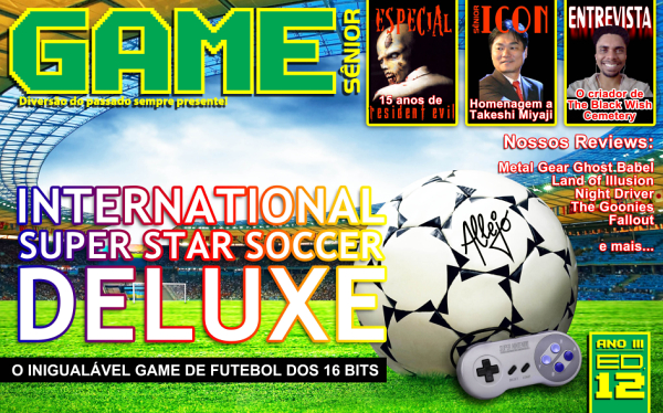 Foi lançada hoje a edição nº12 da revista digital dedicada aos games clássicos, <strong>Game Sênior</strong>, que estréia neste número seu novo formato! Confira a capa logo abaixo: