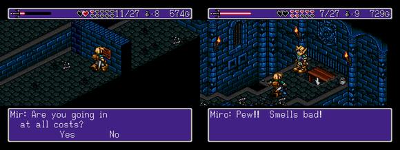 Imaginem uma dungeon onde várias placas tentam pregar peças com dicas falsas, um labirinto enorme cheio de indas e vindas e até mesmo um clone de Nigel andando pelo cenário tentando te confundir (que com certeza deve ser o inimigo disfarçado).... Essa é a Torre de Mir, a dungeon que enfrentei. Não vou relatar o passo a passo da torre (até porque isso é um Diário e não detonado), mas fiquem sabendo que dá um belo trabalho e uma enorme dor de cabeça.