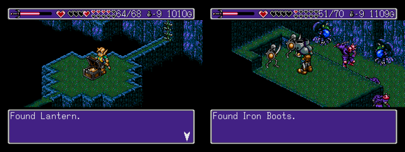 É hora desvendar o labirinto criado pelo rei Nole, um lugar bem CHATO e cheio de perigos. Encontrei um pouco de tudo aqui: inimigos resistentes, saltos precisos, plataformas que caem e até mesmo uma tela completamente escura, onde foi preciso usar um novo item, também encontrado aqui: o LANTERN. Existe um sem número de baús escondidos, alguns com LIFE STOCKS e outros apenas com Eke-Ekes, além das IRON BOOTS, que pelo visto permitem andar nos espinhos sem levar dano. Outro item bacana que pode ser encontrado um pouco antes do guardião de fogo é a Venus Stone.