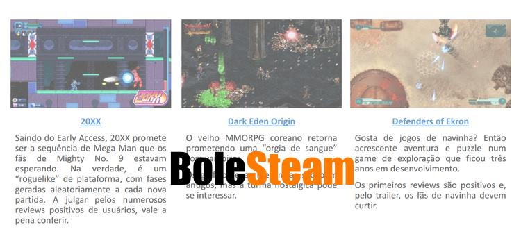 BoleSteam do Gagá: as novidades da semana no Steam